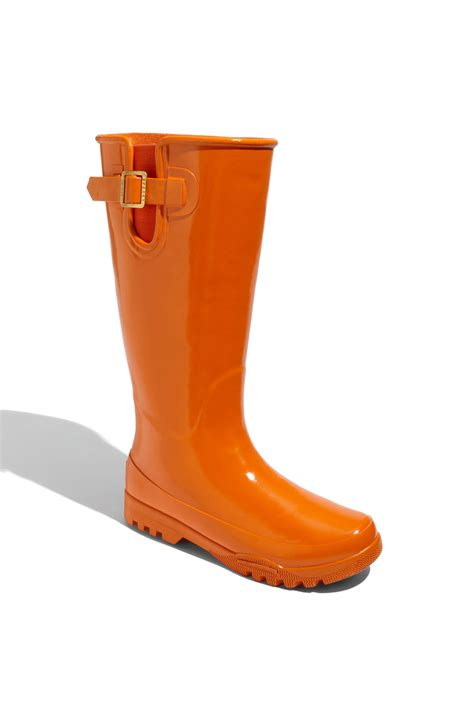 boat shoes in rain sperry top sider pelican tall rain boot women in orange