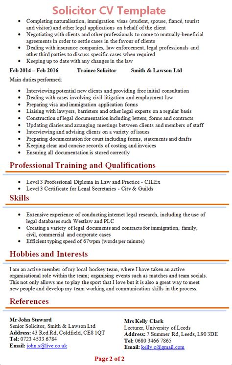 Sample Resume For Lecturer Job by Solicitor Cv Template 2