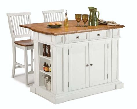 compact set home styles kitchen island two bar stools