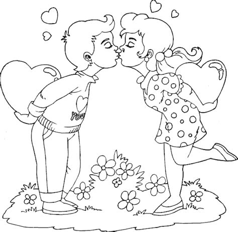 valentine boy and girl kissing coloring page coloring com