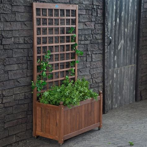 Wooden Planters With Trellis by Wood Planter Box On Wheels With Grid Style Trellis