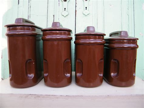 antique canisters kitchen kitchen canisters vintage chocolate brown ceramic by