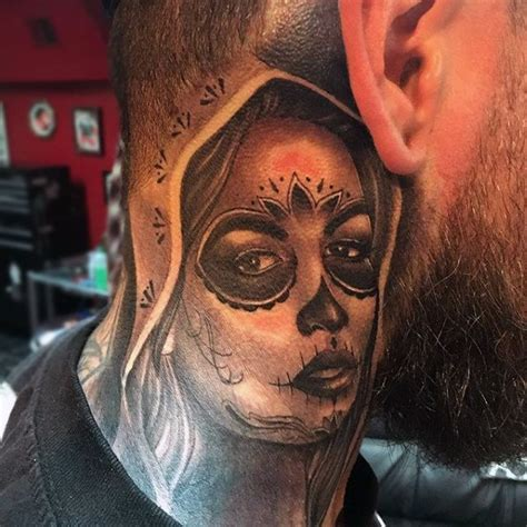 neck tattoo mexican 70 day of the dead tattoos for men mexican holiday designs