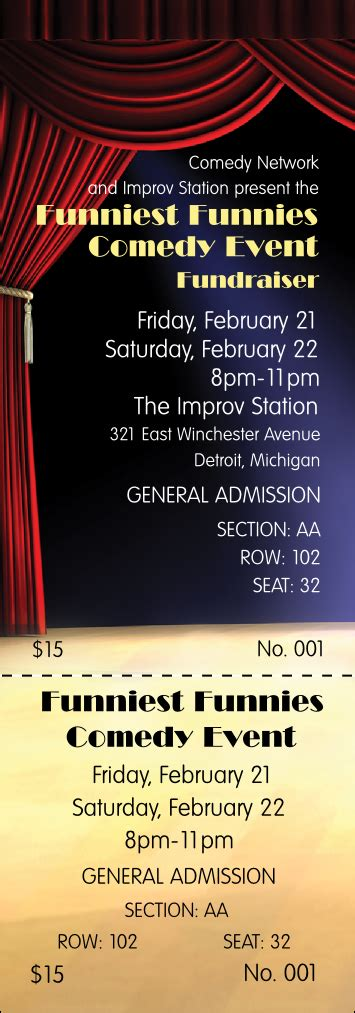 Stand Up Comedy Reserved Event Ticket Comedy Show Ticket Template