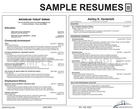 Resume Exles Byu Resumes Career Services