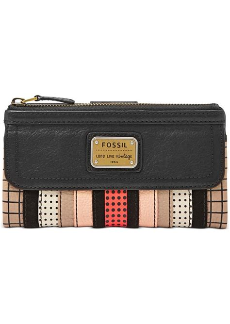 Fossil Patchwork Wallet - fossil fossil emory leather patchwork clutch wallet