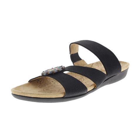 slide sandals womens acorn 9672 womens samoset leather beaded slide sandals