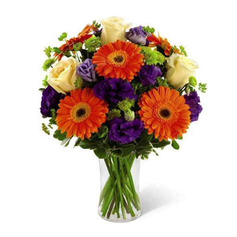 Brooch Corsage Pompom Orange 2 white roses orange gerbera daisies purple lisianthus green button poms and a mix of vibrant