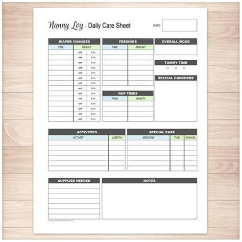 Printable Nanny Log Daily Infant Care Sheet Babysitter Babysitting Log Templates