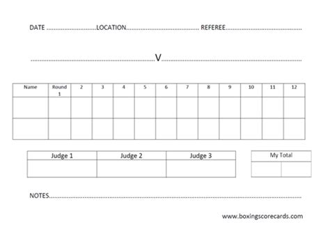 boxing scorecard template free scorecard template 187 boxing scorecard archive and