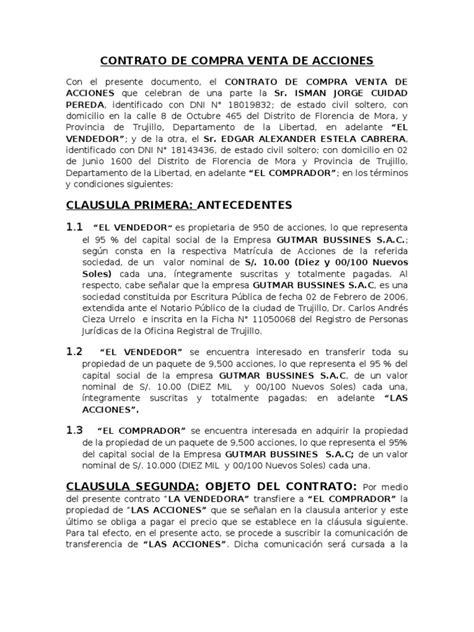 modelo contrato compraventa inmueble vlex chile modelo de contrato de compra venta de acciones