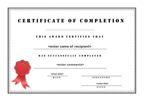 certificate of completion templates free printable completion certificates certificate templates