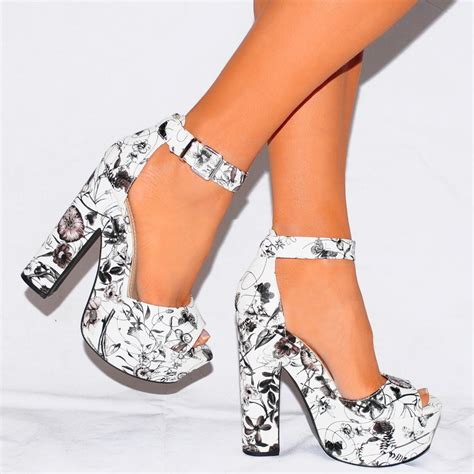 black and white shoes high heels womens black white flower platforms strappy sandals