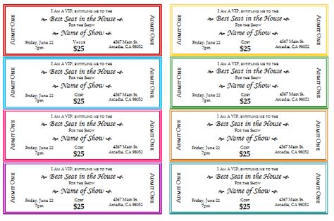 document templates free event ticket templates for print