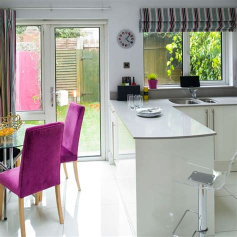 small kitchen diner ideas white lacquered kitchen diner modern kitchen ideas