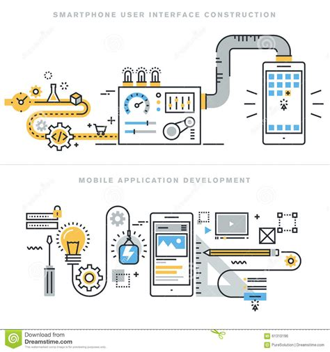 application design concepts flat line design concepts for mobile apps development