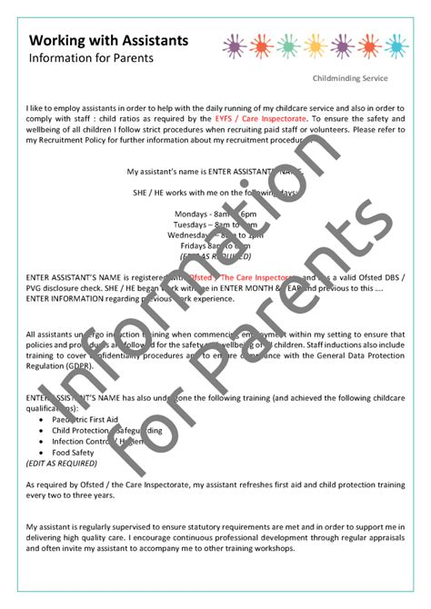 childminding policies templates childminder assistant employment pack mindingkids