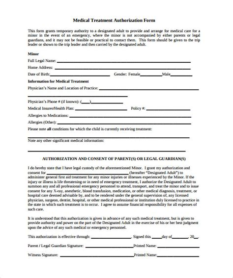 Permission Letter For Treatment by Sle Treatment Authorization Letter 9 Free Exles Format