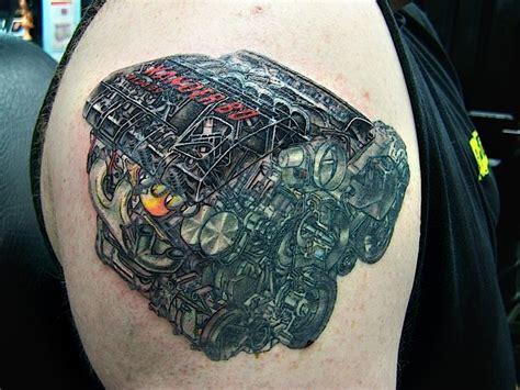 shoulder realistic motor tattoo  david corden tattoos