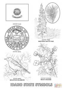 State Symbols Coloring Pages idaho state symbols coloring page free printable