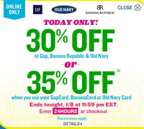 old navy coupons shopular old navy gap or banana republic 30 off entire purchase