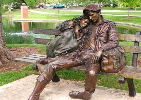 sculpture bench statue of couple on bench street art pinterest