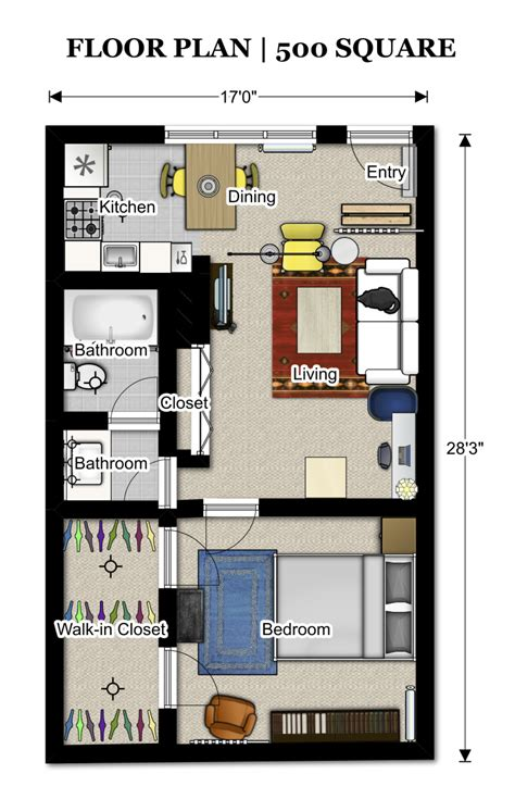 floor plans 500 sq ft 352 3 pinterest apartment