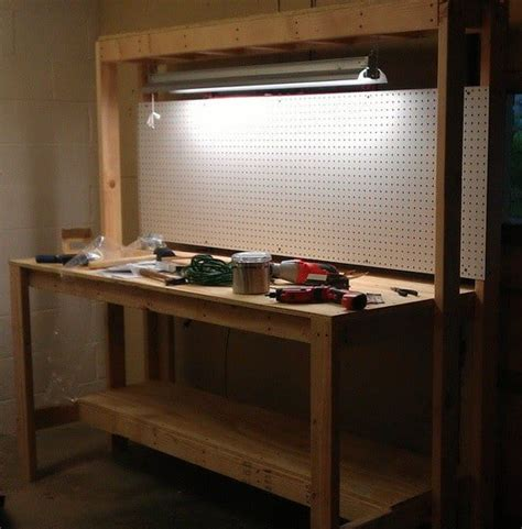 work bench lights how to build a workbench for your garage to get organized