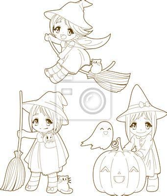 imagenes de anime kawaii para pintar fototapeta halloween uroczy kawaii czarownice kolorowanka