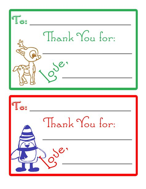 Gift Cards For Kids - children s christmas thank you cards our thrifty ideas