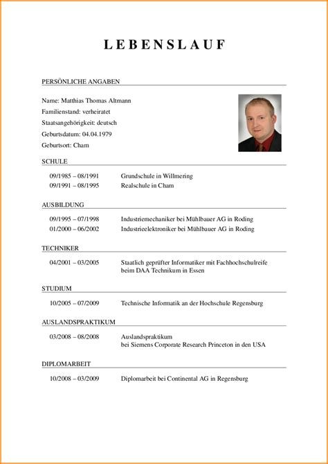 Muster German Word Curriculum Vitae Vorlage Reimbursement Format
