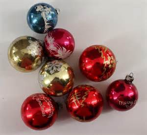 vintage christmas ornaments glass flocked merry christmas