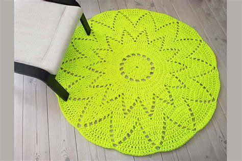 neon yellow rug neon yellow crochet doily rug made of cotton t shirt yarn home soul