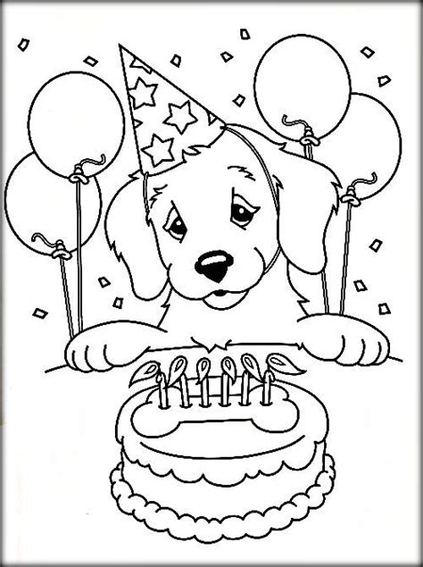 happy birthday puppy coloring pages free printable dog coloring pages for adults color zini