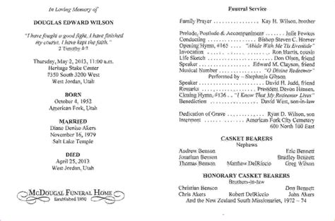 funeral service program template 13 funeral service program templateagenda template sle