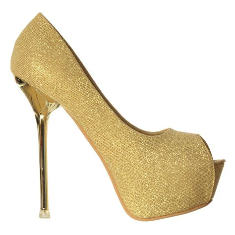 gold peep toe high heels shoekandi glitter peep toe heels gold silver heel