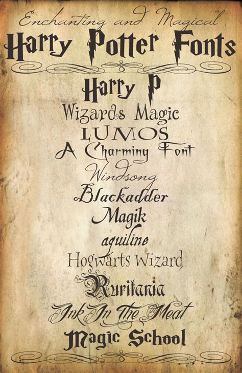 14 harry potter font free ttf otf format download