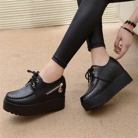 Sepatu Fashion Shoes Chunky Aliexpress Buy 2017 New Black White Wedge