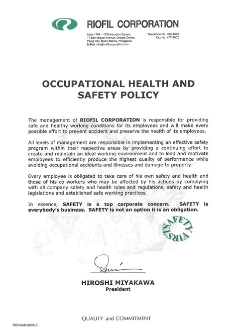 Occupational Health And Safety Policy Hse Policy Template