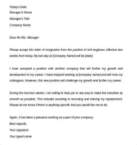 Resignation Letter Format Engineer Sle Two Weeks Notice Letter 10 Free Documents In Pdf Word