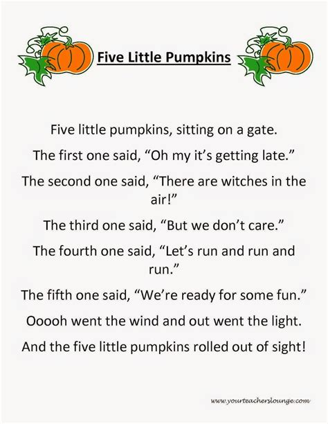 pumpkin poems 5 pumpkins poem pictures to pin on
