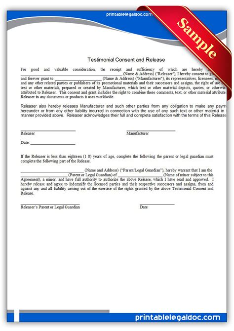 free printable testimonial consent and release form generic