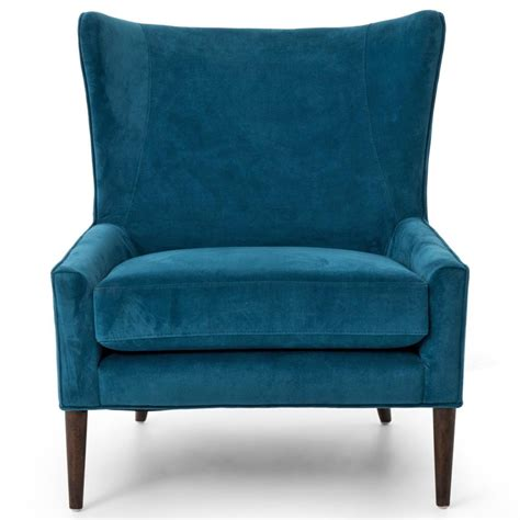 blue velvet wing chair mid century peacock blue velvet wing lounge chair