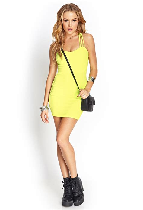 Strappy Bodycon Dress Forever 21 lyst forever 21 strappy crossback bodycon dress in yellow