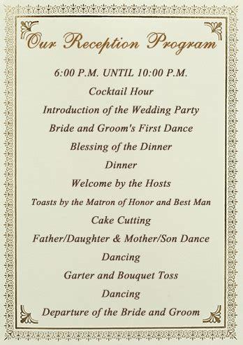 sle of wedding reception program wedding reception order of events sles wedding recepti