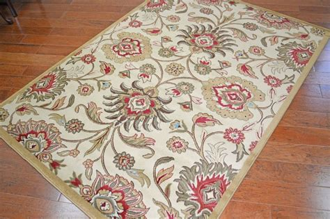 Jacobean Floral Rug by Viola Ivory Beige Jacobean Floral Traditional Area Rug 5x8 8x10 5x8 Oval Dining Ebay