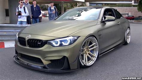 bmw m4 stanced stanced bmw m4 f82 with loud fi exhaust making some noise