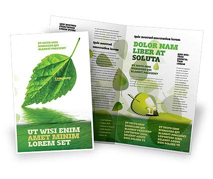 green leaf falling brochure template design and layout