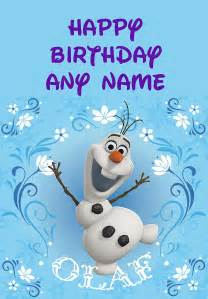 This frozen olaf card can be personalised with any text you like so
