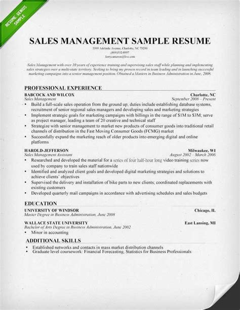 sle of formal resume sales manager resume sle writing tips